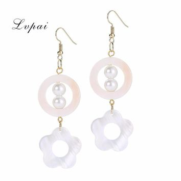 Elegant Shell Geometric Drop Dangle Long Flower Round Chain Earrings