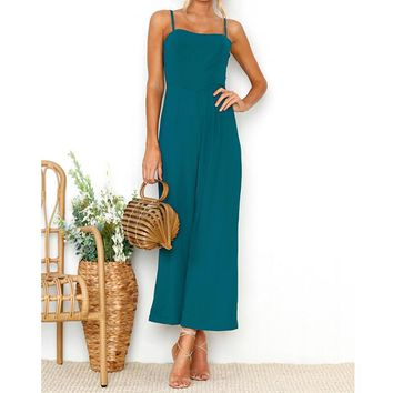 Fashion Strappy Jumpsuit Women Sleeveless Suspenders Rompers Wide Leg Pant Ladies One-Piece Backless Overalls