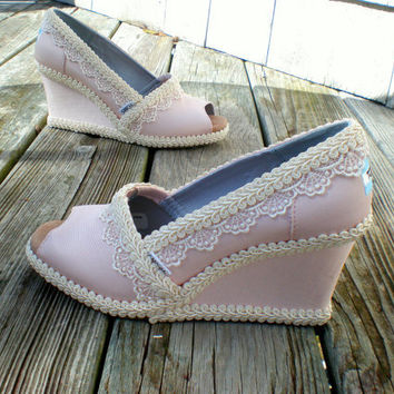 Custom Wedding TOMS -- Pink Wedge design