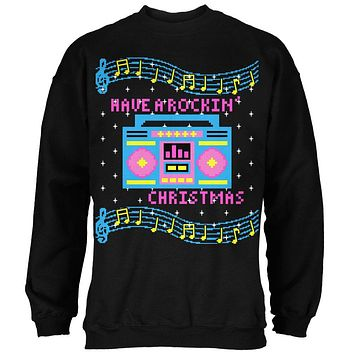 Retro Boombox Music Have a Rockin' Ugly Christmas Sweater Mens Sweatshirt