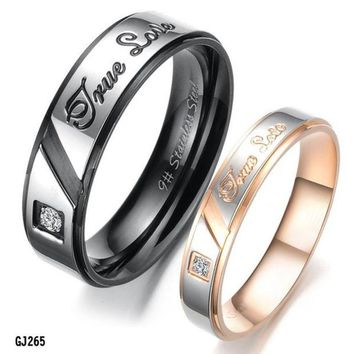 ca DCCKTM4 Titanium Stainless Steel Ring Set Wedding Valentine Couple Lover Engagement Band [8958433671]