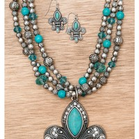 M&F Western Products Silver with Turquoise Fleur de Lis Necklace and Earrings Jewelry Set