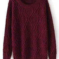 Fast Shipping Dark Red Long Sleeve Diamond Patterned Pullover Sweater