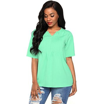 Green Pintucks Detail Raglan Sleeves Blouse