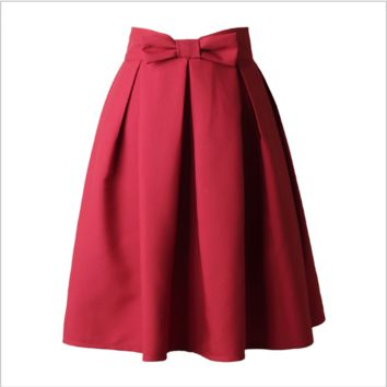 Summer Spring Skirts Womens High Waist Pleated Knee-Length Skirt Bow tie Solid Elegant Casual Skirt