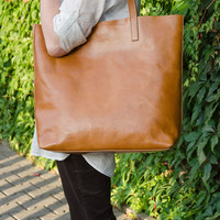 Camel Brown Leather Tote Bag – Handmade Leather Tote - LENA Large