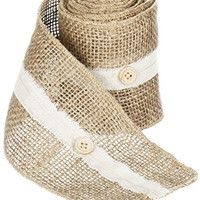 "Sullivan's 6"" x 10' Burlap Ribbon with Beige Stripe and Button Accents"
