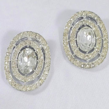 Large Clear Rhinestone Vintage Shoe Clips 1940s Formal Wedding Accessory Halo