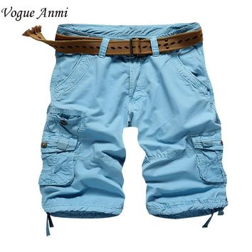 Vogue Anmi.cargo shorts mens casual shorts cotton cargo shorts men black army khaki blue color plus size 36 38 short pants men