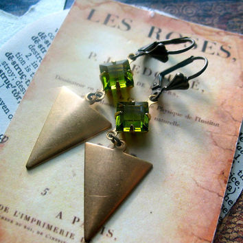 Art Deco Brass Arrow Earrings