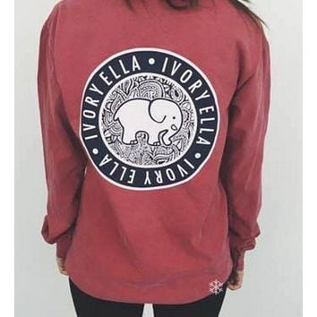Women Long Sleeve Cute Elephant Pattern Sweatshirt Ivory Ella Letters Printed Pocket Pullover Tops