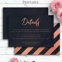 Roes Gold Wedding Insert Card, Details Card, Details Template, Navy Blue Wedding Info Card, Printable Details, Details Card Template, Card