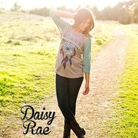 Southern Grace  Daisy Rae Dream On Raglan with Dreamcatcher and Teal Lace Sleeves