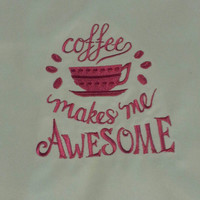 white apron with embroidered design coffee makes me awesome mothers day gift