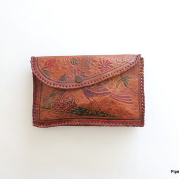 Tooled Leather Clutch 1960s Boho Leather Clutch Ethnic Purse with Birds and Roses Envelope Clutch