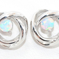 3mm Opal Round Stud Earrings .925 Sterling Silver Rhodium Finish