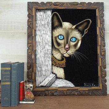 Large Velvet Portrait Painting,  Siamese Cat Wall Hanging, Cat Lover Gift