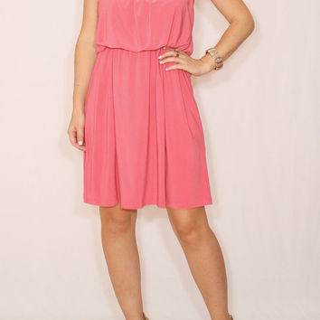 Coral pink dress Coral bridesmaid dress Short dress Party dress