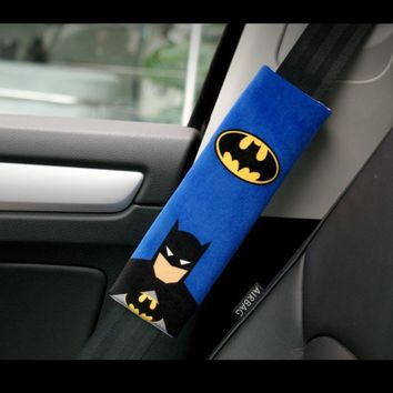 Batman Dark Knight gift Christmas 1 Pair Cartoon Car Sefety Seat Belt Cover Batman Superman Auto Seatbelt Shoulder Protection Padding Winter Plush Car Seatbelts AT_71_6