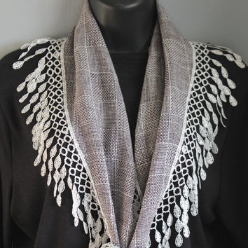 Gauze Scarf  Plaid Scarf, Long Scarf, Lace Scarf, Black Scarf, Hip Scarf, Gift For Her, Summer Scarf, Fringe Scarf, Lace Scarves, Grey Scarf