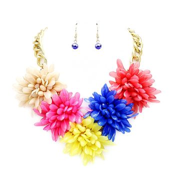 Beatnix Fashions Multi Color Flower Statement Necklace & Earring Set