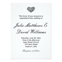 Elegant Black and White Heart Wedding Invitation