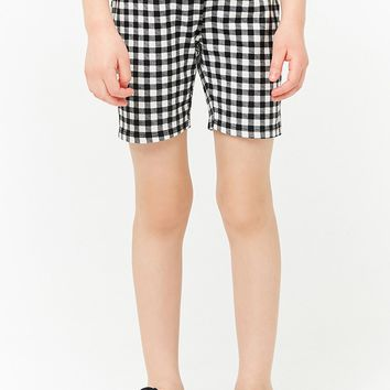 Girls Gingham Print Bike Shorts (Kids)