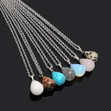 Colorful Refine Jewelry Pendants Necklaces For Women Round Beads Natural  Opal Crystal Stone Collares Colar Feminino