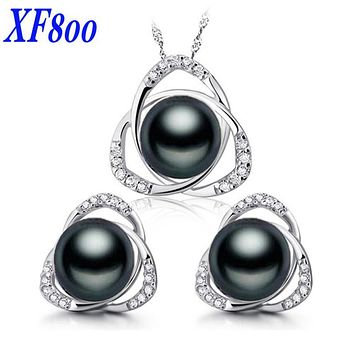 [XF800]Pearl Jewelry Set 925-Sterling-Silver Fine Jewelry Real Freshwater Pearl Necklace Pendant Earrings Party For Women ST21