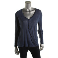Zara T-Shirt Collection Womens Sheer Long Sleeve Henley Top