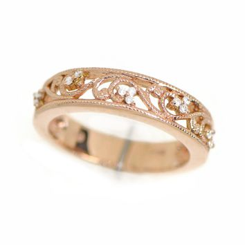 14k Rose Gold Floral Filigree 0.15 Ct Diamond 5mm Wedding Anniversary Band