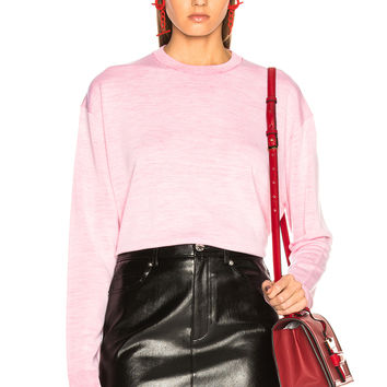 Acne Studios Finola Two Tone Sweater in Off White & Fuchsia Pink | FWRD