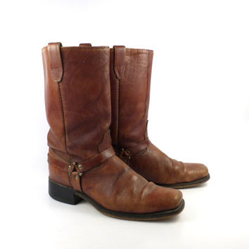 Brown harness Boots Vintage 1970s  Leather Motorcycle Campus Acme Men's size 10 1/2