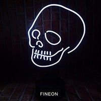 Mirsne Skull Glass tube Rock Neon Sign Sculpture Blue Bar Neon Light Sign 35cm x 14cm x 14cm Neon Lamp with PLASTIC Base