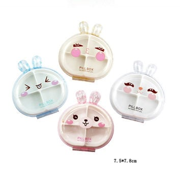 Cute Small Rabbit Style Plastic Portable Pill Case For Traveler Empty Colorful Storeage Box With 4 Space