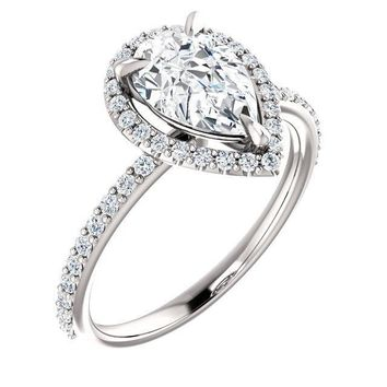 Pear Moissanite Diamond Accent Ice Halo Ring