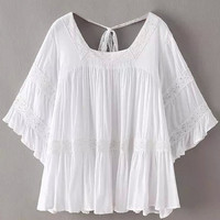 White Lace Panel Flare Sleeve Blouse