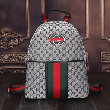 Gray GUCCI Casual School Bag Leather Backpack 2579