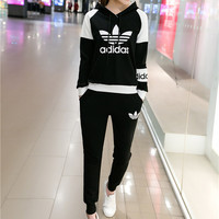 """""""Adidas"""" Fashion Casual Multicolor Clover Letter Print Long Sleeve Hooded Set Two-Piece Sportswear"""
