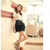 Sweet Multilayer Cake Short Dress Black