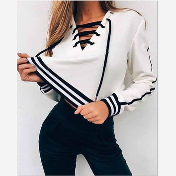 Autumn Cute Lace up Hoodie Sweatshirt Women White Hoodies Striped Loose Casual Tracksuit Jumper Winter Pullover Crop Top