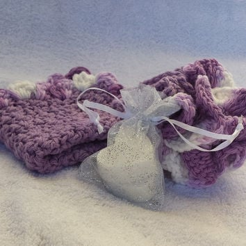 Pansy Colored Washcloth/Pouf Set with Handmade Lavender Oatmeal & Lavender Coconut Goat's Milk Sample- crochet bath set - stocking stuffer