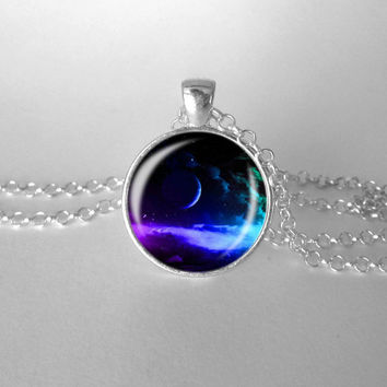 Fantasy Necklace Outer Space Necklace Rainbow Colored Stars Moon