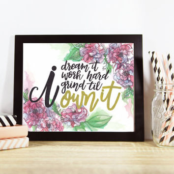 "Beyonce ""Formation"" Lyric Quote Watercolor Wall Art Print"