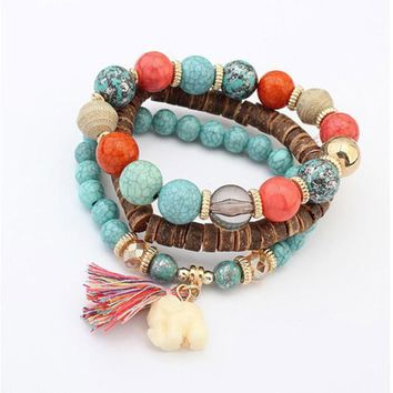 Multi Layer Bead Handmade Bracelets Florid Cool Multi Color