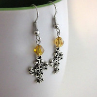 Cross Earrings, Amber Bicone Bead, Gothic Style Dangles, Antique Silver, Fall Trends, New Years Trend Fleur de Lis