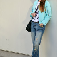 Cropped jacket in mint