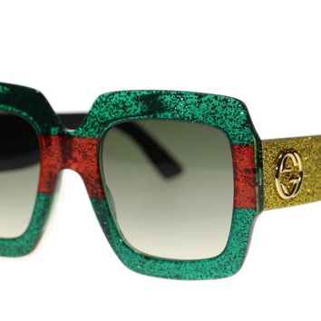 Gucci Women Sunglasses GG0102S 006 Multicolor Green Gradient Lens 54m Authentic