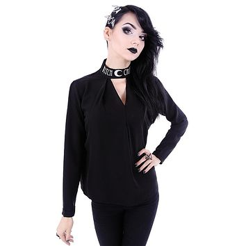 Witchcraft Moon V-neck Choker Neck Black Long Sleeve Blouse Top