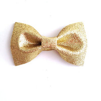 Gold Classic Gal : Glitter Bow Clip or Headband